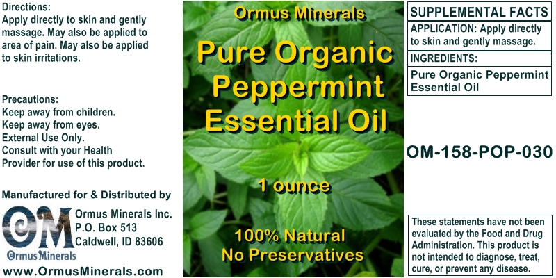 Ormus Minerals Pure Organic Peppermint Essential Oil 1 oz